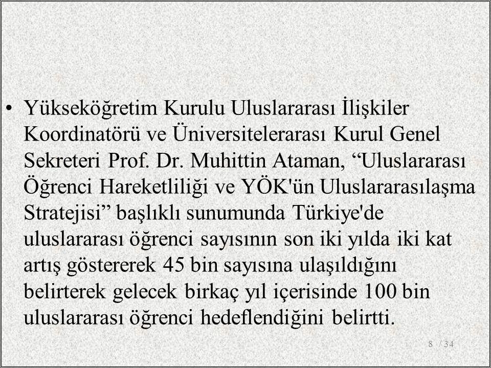 Yükseköğretim Kurulu Uluslararası İlişkiler Koordinatörü ve Üniversitelerarası Kurul Genel Sekreteri Prof.