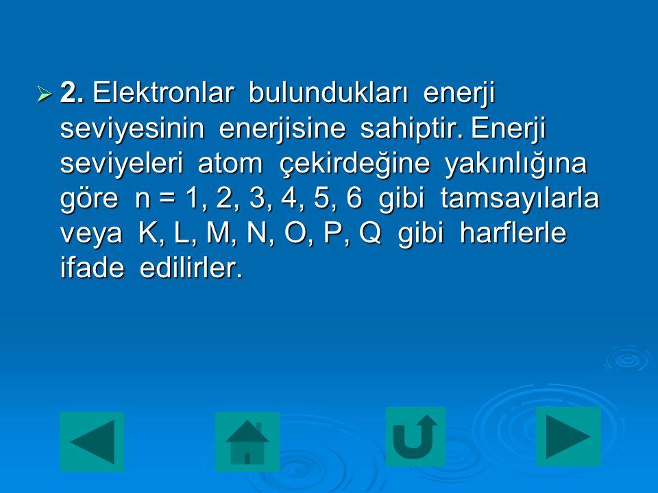  Bohr atom modeline göre;  1. Elektronlar çekirdek çevresinde rasgele dairesel bir yörüngede değil, belli enerjiye sahip olan dairesel yörüngelerde