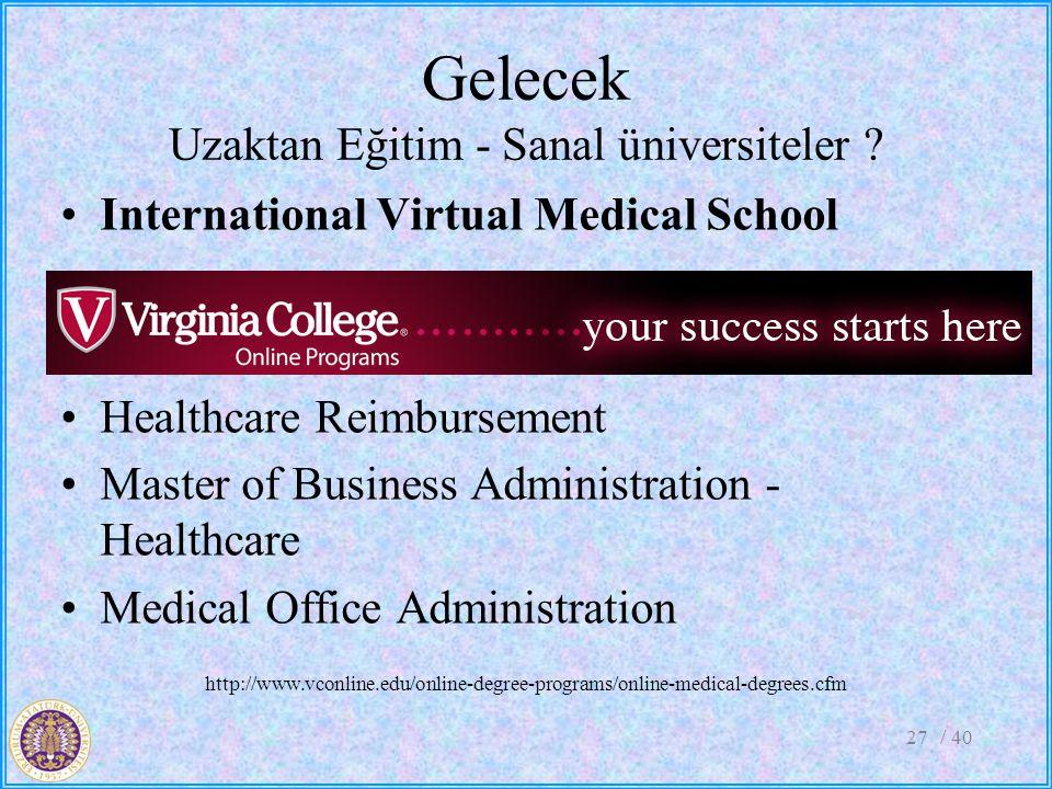 Gelecek Uzaktan Eğitim - Sanal üniversiteler ? International Virtual Medical School Health Services Management Healthcare Reimbursement Master of Busi