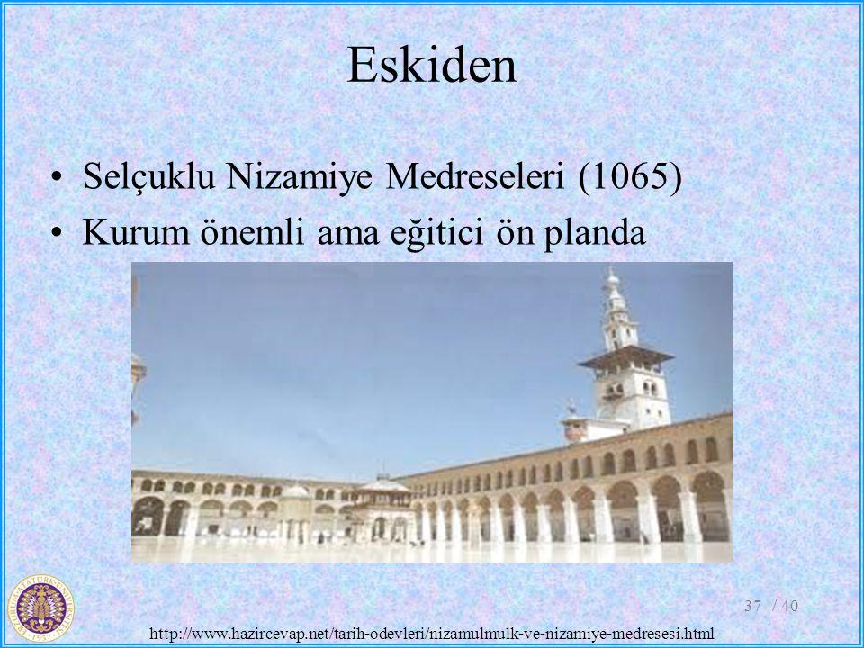 Eskiden Selçuklu Nizamiye Medreseleri (1065) Kurum önemli ama eğitici ön planda / 4037 http://www.hazircevap.net/tarih-odevleri/nizamulmulk-ve-nizamiy