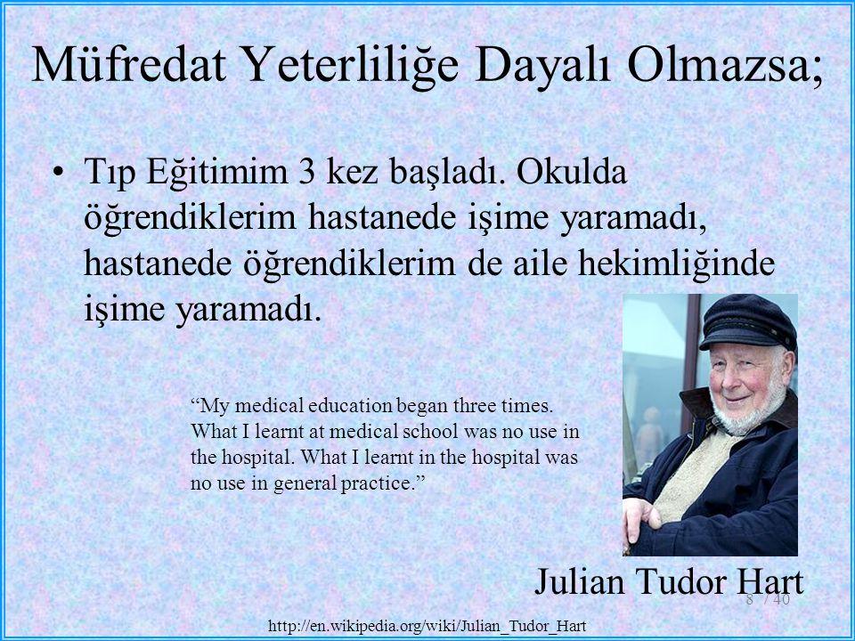 Tıp Eğitimim 3 kez başladı. Okulda öğrendiklerim hastanede işime yaramadı, hastanede öğrendiklerim de aile hekimliğinde işime yaramadı. Julian Tudor H