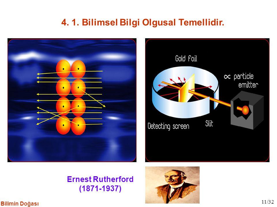 Ernest Rutherford (1871-1937) 4. 1. Bilimsel Bilgi Olgusal Temellidir. 11/32 Bilimin Doğası