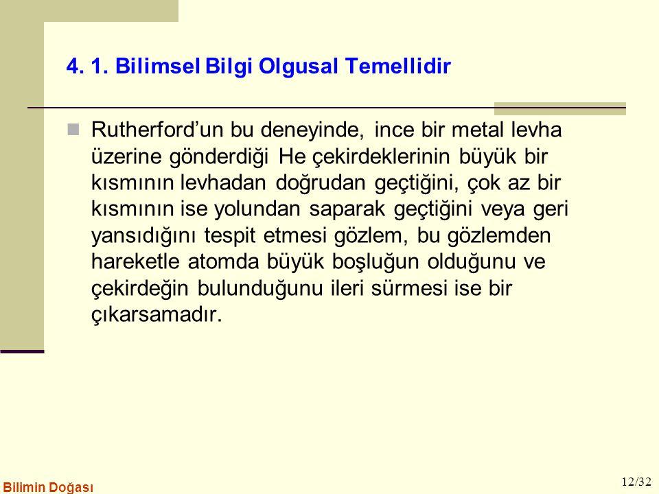 4. 1. Bilimsel Bilgi Olgusal Temellidir Rutherford'un bu deneyinde, ince bir metal levha üzerine gönderdiği He çekirdeklerinin büyük bir kısmının levh