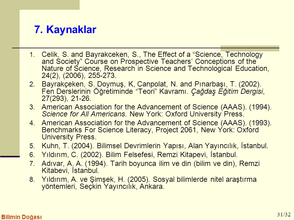 "Bilimin Doğası 7. Kaynaklar 1. Celik, S. and Bayrakceken, S., The Effect of a ""Science, Technology and Society"" Course on Prospective Teachers' Concep"