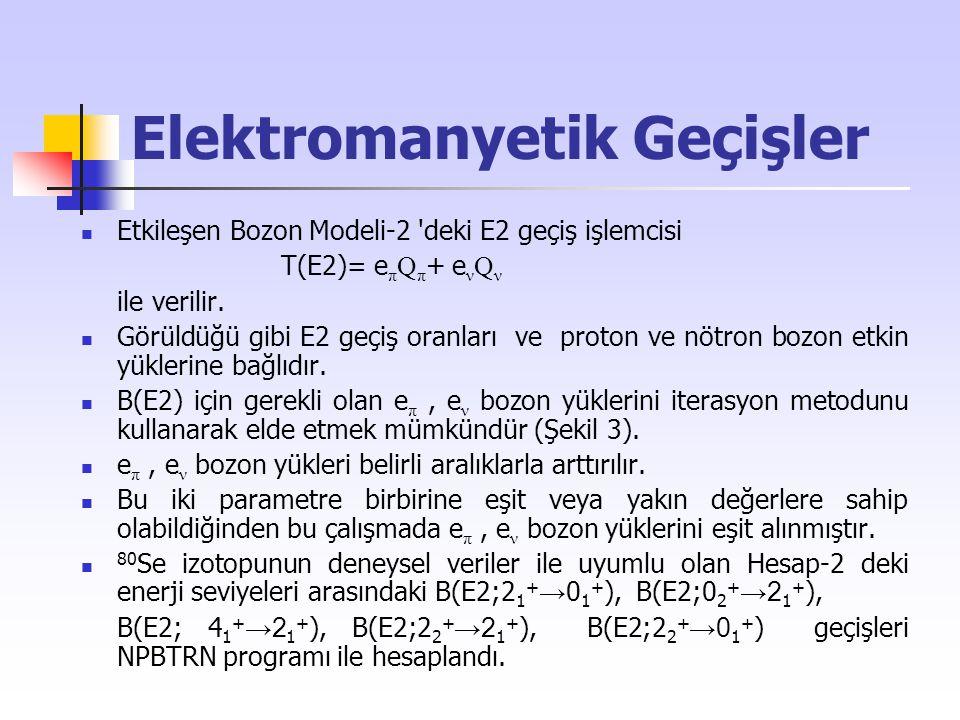Elektromanyetik Geçişler Etkileşen Bozon Modeli-2 'deki E2 geçiş işlemcisi T(E2)= e π Q π + e ν Q ν ile verilir. Görüldüğü gibi E2 geçiş oranları ve p