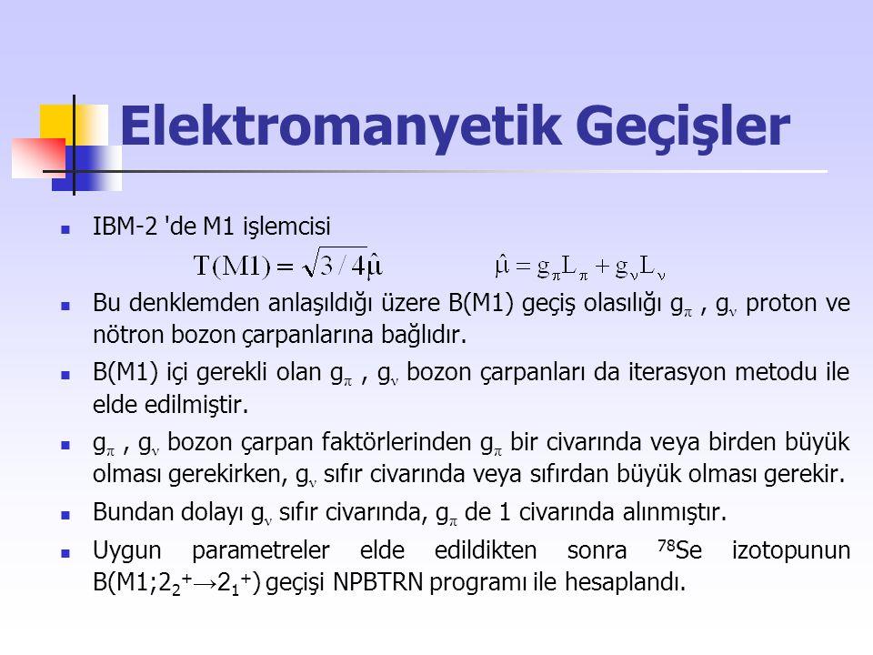 Elektromanyetik Geçişler IBM-2 'de M1 işlemcisi Bu denklemden anlaşıldığı üzere B(M1) geçiş olasılığı g π, g ν proton ve nötron bozon çarpanlarına bağ