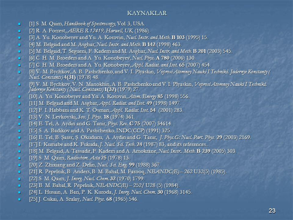 23 KAYNAKLAR [1] S. M. Qaim, Handbook of Spectroscopy, Vol. 3, USA. [1] S. M. Qaim, Handbook of Spectroscopy, Vol. 3, USA. [2] R. A. Forrest, AERE R 1