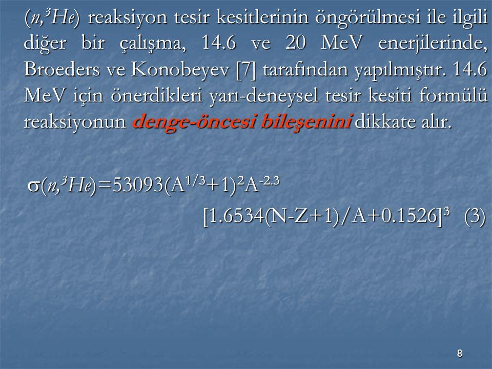 8 (n, 3 He) reaksiyon tesir kesitlerinin öngörülmesi ile ilgili diğer bir çalışma, 14.6 ve 20 MeV enerjilerinde, Broeders ve Konobeyev [7] tarafından