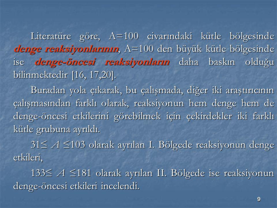 9 Literatüre göre, A=100 civarındaki kütle bölgesinde denge reaksiyonlarının, A=100 den büyük kütle bölgesinde ise denge-öncesi reaksiyonların daha ba