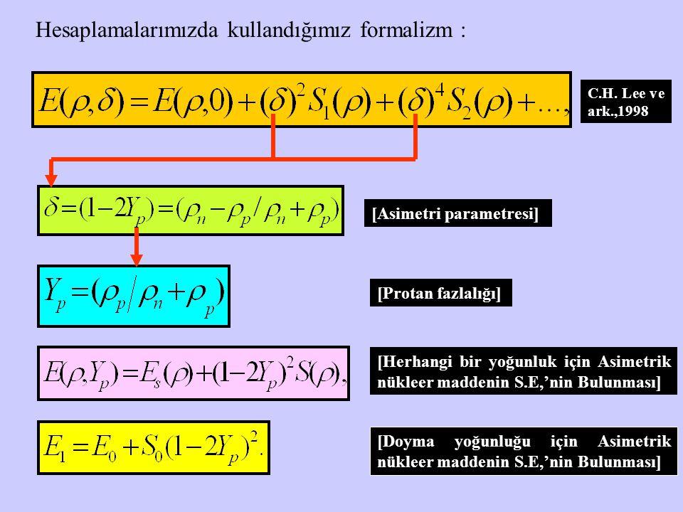 Hesaplamalarımızda kullandığımız formalizm : [Asimetri parametresi] [Protan fazlalığı] [Herhangi bir yoğunluk için Asimetrik nükleer maddenin S.E,'nin