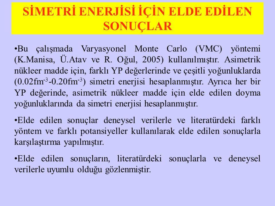 SİMETRİ ENERJİSİ İÇİN ELDE EDİLEN SONUÇLAR Bu çalışmada Varyasyonel Monte Carlo (VMC) yöntemi (K.Manisa, Ü.Atav ve R. Oğul, 2005) kullanılmıştır. Asim