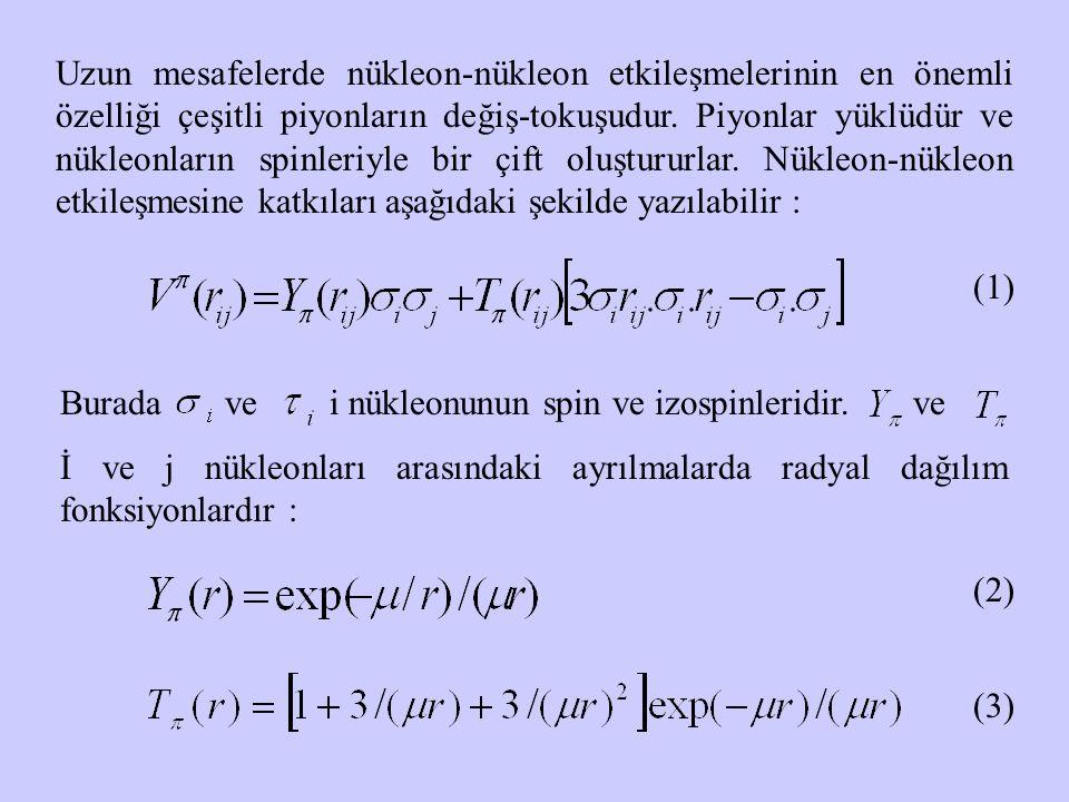 Uzun mesafelerde nükleon-nükleon etkileşmelerinin en önemli özelliği çeşitli piyonların değiş-tokuşudur. Piyonlar yüklüdür ve nükleonların spinleriyle