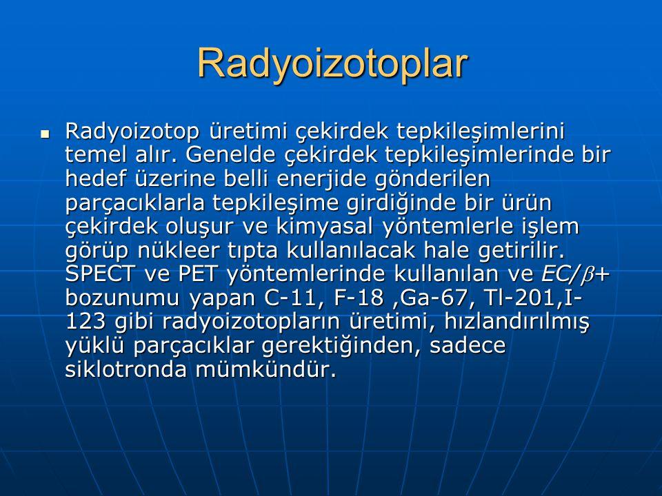 Radyoizotoplar Radyoizotop üretimi çekirdek tepkileşimlerini temel alır. Genelde çekirdek tepkileşimlerinde bir hedef üzerine belli enerjide gönderile