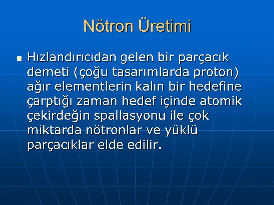 Nötron Üretimi Hızlandırıcıdan gelen bir parçacık demeti (çoğu tasarımlarda proton) ağır elementlerin kalın bir hedefine çarptığı zaman hedef içinde atomik çekirdeğin spallasyonu ile çok miktarda nötronlar ve yüklü parçacıklar elde edilir.