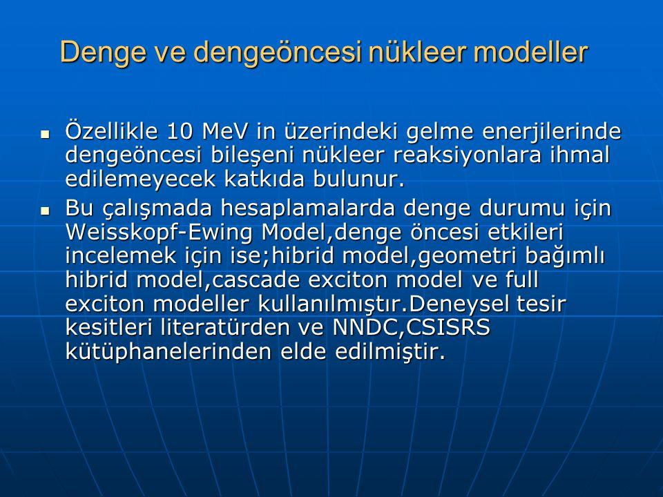 Denge ve dengeöncesi nükleer modeller Özellikle 10 MeV in üzerindeki gelme enerjilerinde dengeöncesi bileşeni nükleer reaksiyonlara ihmal edilemeyecek