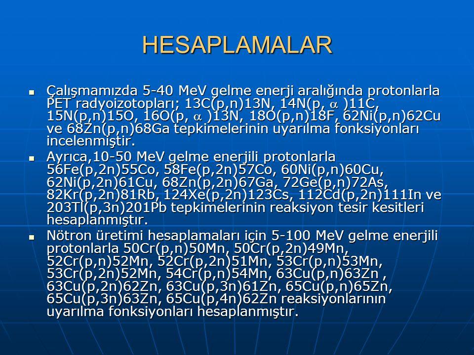 HESAPLAMALAR Çalışmamızda 5-40 MeV gelme enerji aralığında protonlarla PET radyoizotopları; 13C(p,n)13N, 14N(p,  )11C, 15N(p,n)15O, 16O(p,  )13N, 18O(p,n)18F, 62Ni(p,n)62Cu ve 68Zn(p,n)68Ga tepkimelerinin uyarılma fonksiyonları incelenmiştir.