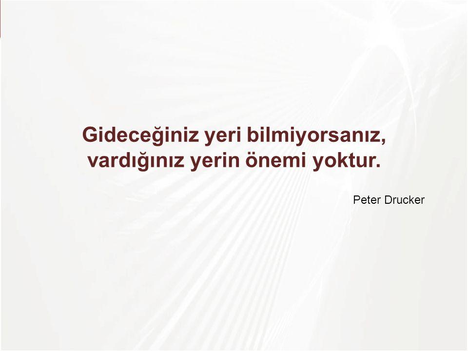 Gideceğiniz yeri bilmiyorsanız, vardığınız yerin önemi yoktur. Peter Drucker