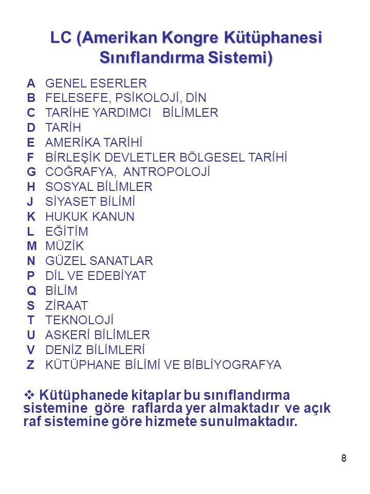 9 NLM (National Library of Medicine) Sınıflandırma Sistemi QS İNSAN ANATOMİSİ QT FİZYOLOJİ QU BİYOKİMYA QV FARMAKOLOJİ QW MİKROBİYOLOJİ VE İMMUNOLOJİ QX PARASİTOLOJİ QY KLİNİK PATOLOJİ QZ PATHOLOGY W TIP MESLEĞİ WA HALK SAĞLIĞI WB DAHİLİ TIP WC BULAŞICI HASTALIKLAR WD BESLENME BOZUKLUKLARI WE KAS-İSKELET SİSTEMİ WF SOLUNUM SİSTEMİ WG KALP VE DAMAR HASTALIKLARI WH KAN VE KAN HASTALIKLARI WI GASTROİNTESTİNAL SİSTEM WJ ÜROGENİTAL SİSTEM WK ENDOKRİN SİSTEMİ WL SİNİR SİSTEMİ WM PSİKİYATRİ WN RADYOLOJİ WO CERRAHİ WP KADIN HASTALIKLARI WQ DOĞUMBİLİM WR DERMATOLOJİ WS ÇOCUK SAĞLIĞI VE HASTALIKLARI WT YAŞLILIK HEKİMLİĞİ WU DİŞ HEKİMLİĞİ WV KULAK BURUN BOĞAZ WW GÖZ HASTALIKLARI WX HASTANELER WY HEMŞİRELİK WZ TIP TARİHİ  Kütüphanede tıp ve sağlık konusundaki kitaplar bu sınıflandırma sistemine göre raflarda yer almaktadır ve açık raf sistemine göre hizmete sunulmaktadır.