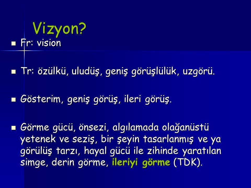 Vizyon? Fr: vision Fr: vision Tr: özülkü, uludüş, geniş görüşlülük, uzgörü. Tr: özülkü, uludüş, geniş görüşlülük, uzgörü. Gösterim, geniş görüş, ileri