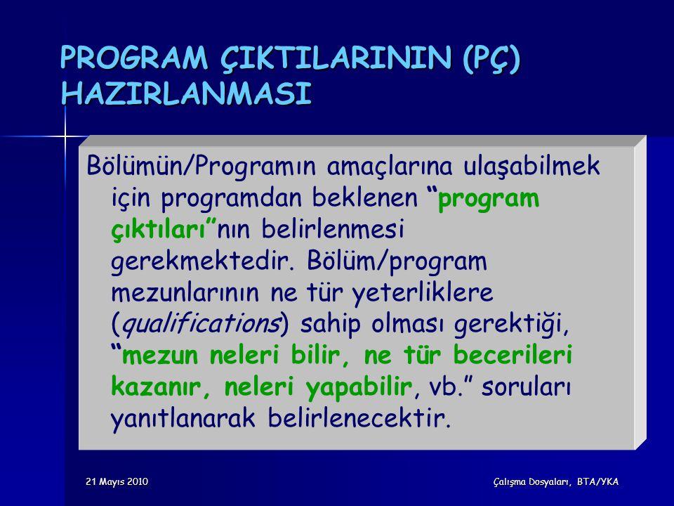 """2 1 Mayıs 2010 Çalışma Dosyaları, BTA/YKA PROGRAM ÇIKTILARININ (PÇ) HAZIRLANMASI Bölümün/Programın amaçlarına ulaşabilmek için programdan beklenen """"pr"""