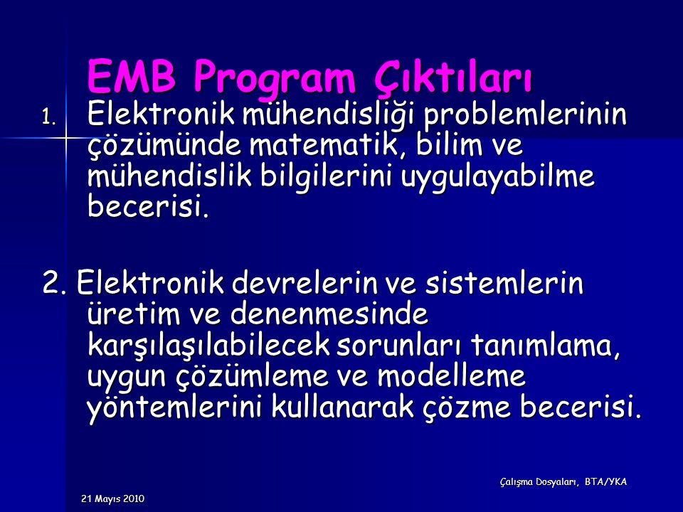 EMB Program Çıktıları 1. Elektronik mühendisliği problemlerinin çözümünde matematik, bilim ve mühendislik bilgilerini uygulayabilme becerisi. 2. Elekt
