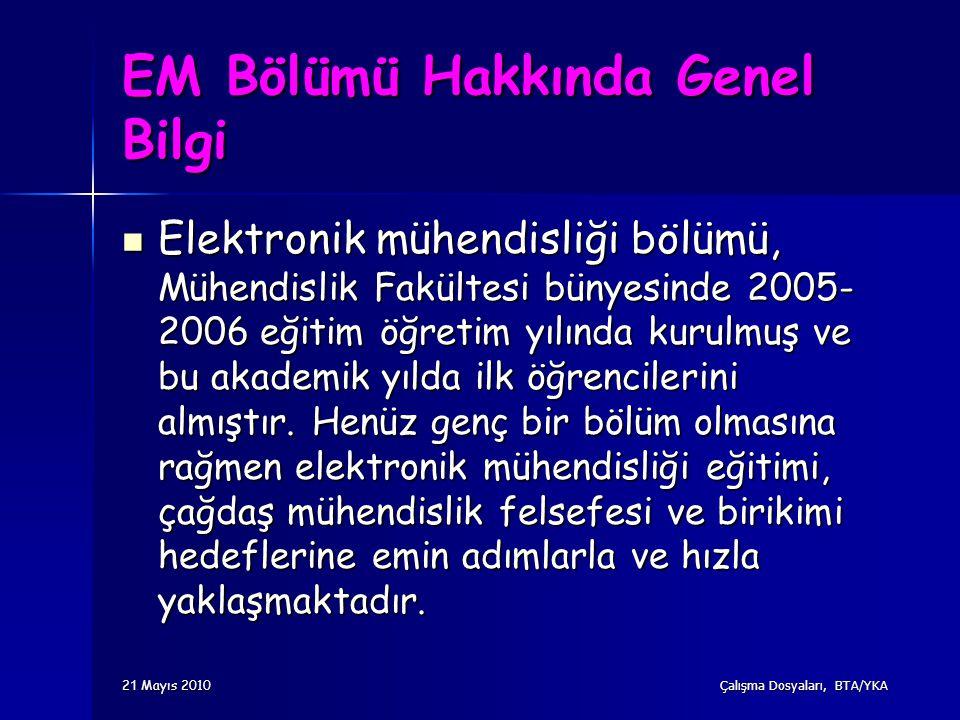 2 1 Mayıs 2010 Çalışma Dosyaları, BTA/YKA EM Bölümü Hakkında Genel Bilgi Elektronik mühendisliği bölümü, Mühendislik Fakültesi bünyesinde 2005- 2006 e