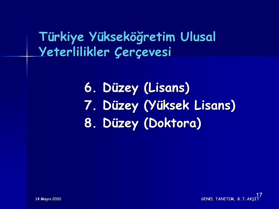 14 Mayıs 2010 GENEL TANITIM, B. T. AKŞİT 17 Türkiye Yükseköğretim Ulusal Yeterlilikler Çerçevesi 6. Düzey (Lisans) 7. Düzey (Yüksek Lisans) 8. Düzey (