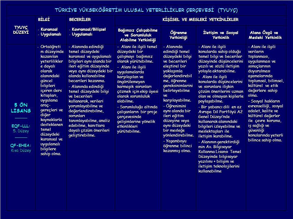 14 Mayıs 2010 GENEL TANITIM, B. T. AKŞİT 18 TÜRKİYE YÜKSEKÖĞRETİM ULUSAL YETERLİLİKLER ÇERÇEVESİ (TYUYÇ) TYUYÇDÜZEYİ BİLGİ - Kuramsal - Uygulamalı BEC