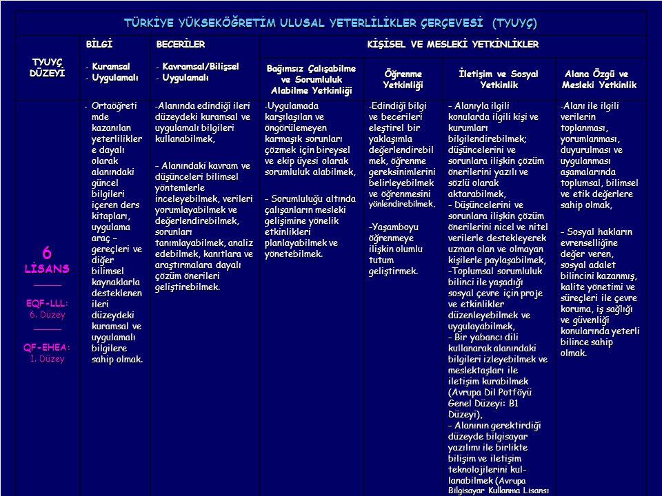 14 Mayıs 2010 GENEL TANITIM, B. T. AKŞİT 19 TÜRKİYE YÜKSEKÖĞRETİM ULUSAL YETERLİLİKLER ÇERÇEVESİ (TYUYÇ) TYUYÇDÜZEYİ BİLGİ - Kuramsal - Uygulamalı BEC