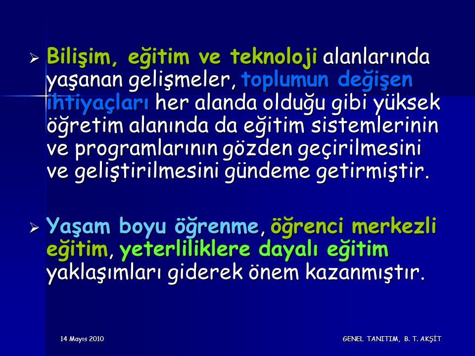 14 Mayıs 2010 GENEL TANITIM, B. T. AKŞİT  Bilişim, eğitim ve teknoloji alanlarında yaşanan gelişmeler, toplumun değişen ihtiyaçları her alanda olduğu