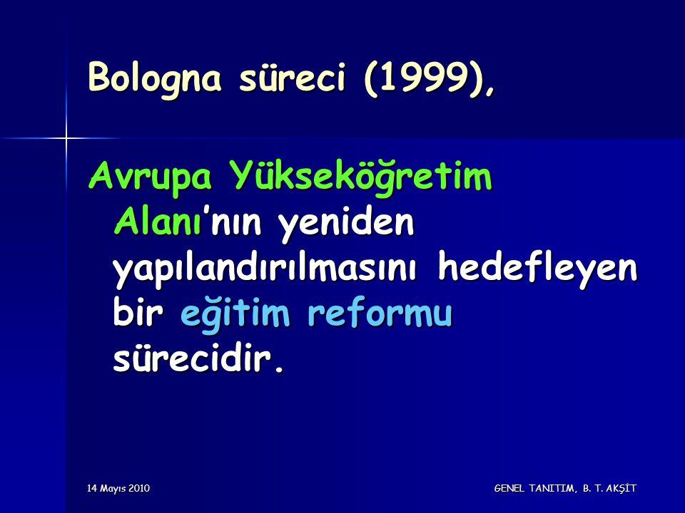 14 Mayıs 2010 GENEL TANITIM, B. T. AKŞİT Bologna süreci (1999), Avrupa Yükseköğretim Alanı'nın yeniden yapılandırılmasını hedefleyen bir eğitim reform