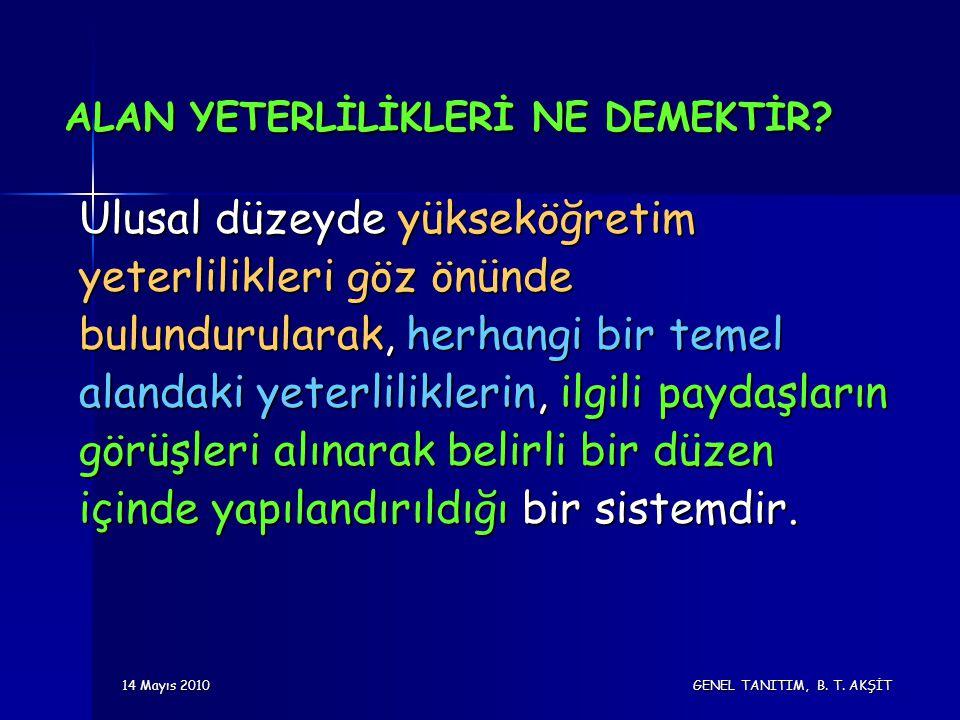14 Mayıs 2010 GENEL TANITIM, B. T. AKŞİT ALAN YETERLİLİKLERİ NE DEMEKTİR.