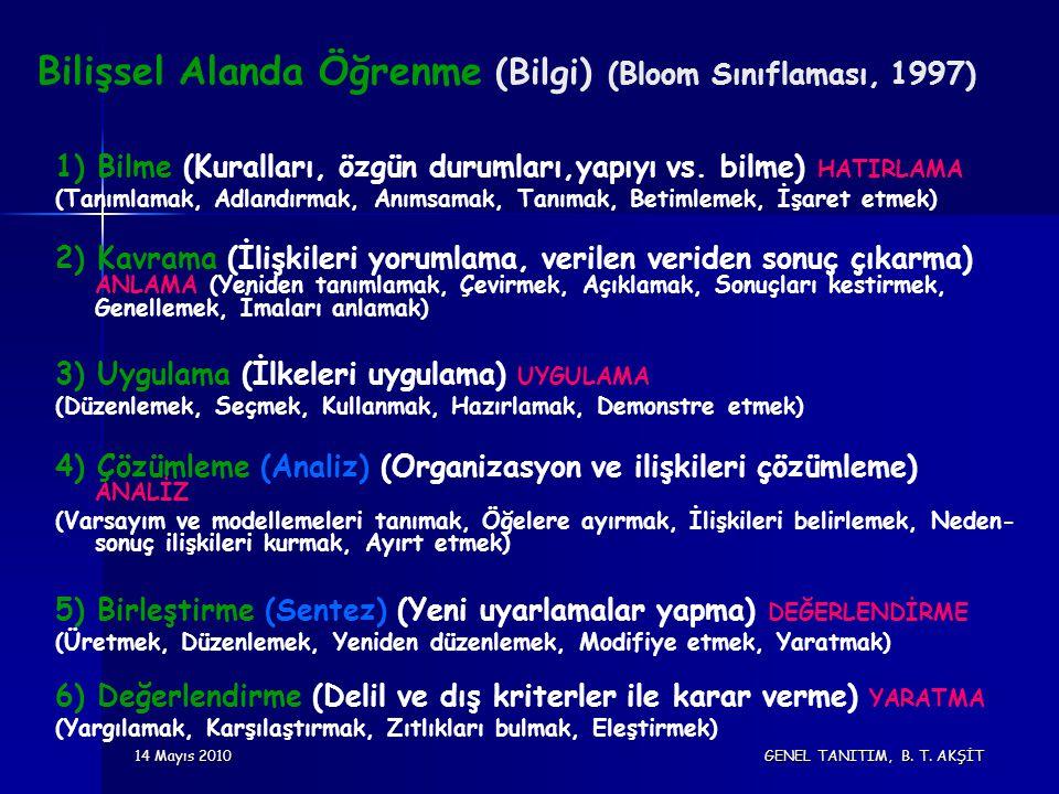 14 Mayıs 2010 GENEL TANITIM, B. T. AKŞİT Bilişsel Alanda Öğrenme (Bilgi) (Bloom Sınıflaması, 1997) 1) Bilme (Kuralları, özgün durumları,yapıyı vs. bil