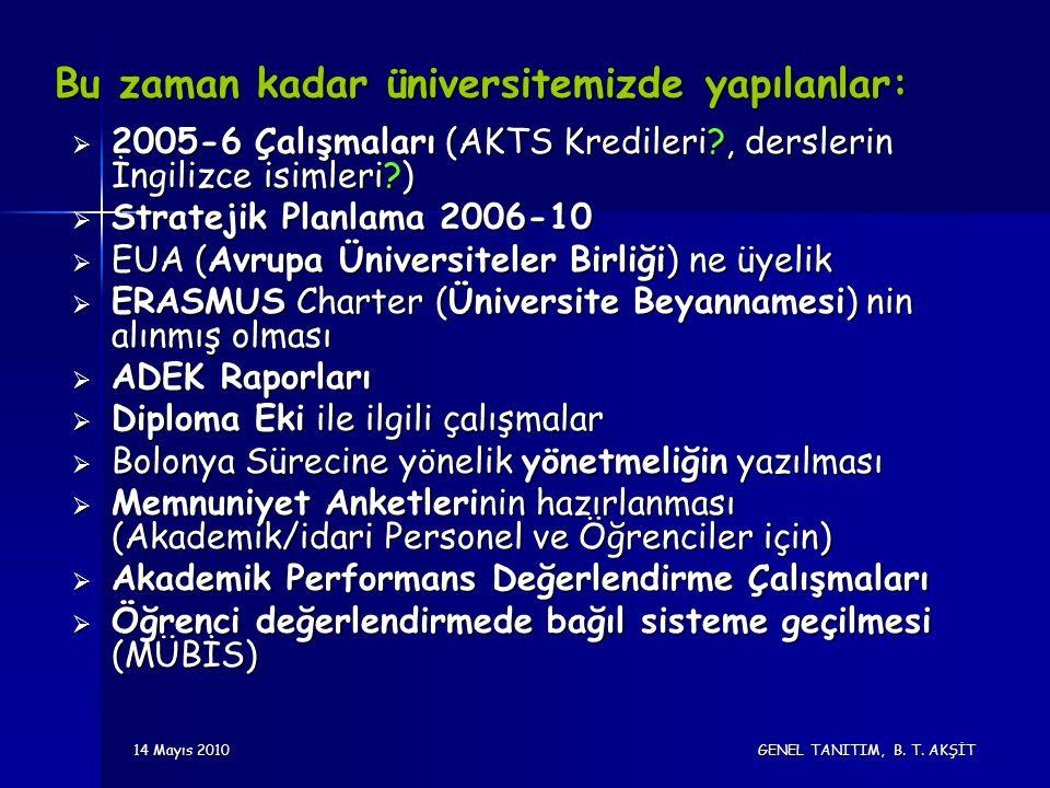 14 Mayıs 2010 GENEL TANITIM, B. T. AKŞİT Bu zaman kadar üniversitemizde yapılanlar:  2005-6 Çalışmaları (AKTS Kredileri?, derslerin İngilizce isimler