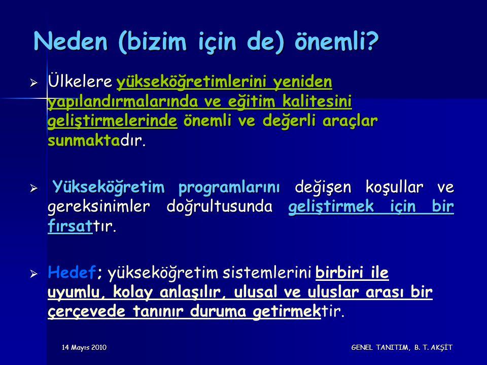 14 Mayıs 2010 GENEL TANITIM, B. T. AKŞİT Neden (bizim için de) önemli.