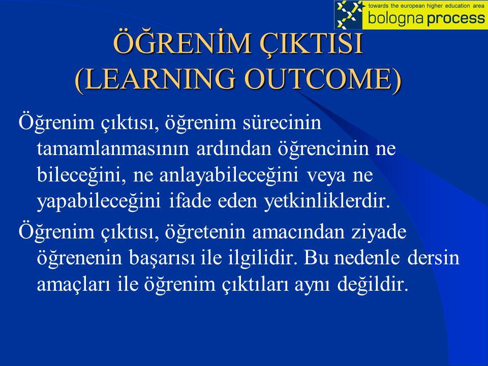ÖĞRENİM ÇIKTISI (LEARNING OUTCOME) Öğrenim çıktısı, öğrenim sürecinin tamamlanmasının ardından öğrencinin ne bileceğini, ne anlayabileceğini veya ne y