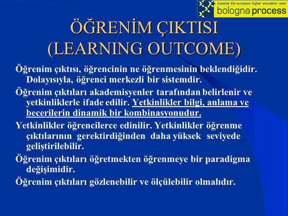 ÖĞRENİM ÇIKTISI (LEARNING OUTCOME) Öğrenim çıktısı, öğrencinin ne öğrenmesinin beklendiğidir. Dolayısıyla, öğrenci merkezli bir sistemdir. Öğrenim çık