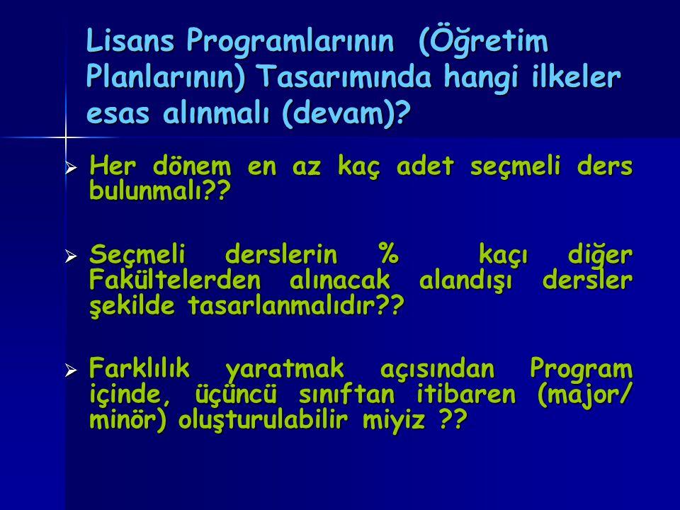 Lisans Programlarının (Öğretim Planlarının) Tasarımında hangi ilkeler esas alınmalı (devam).