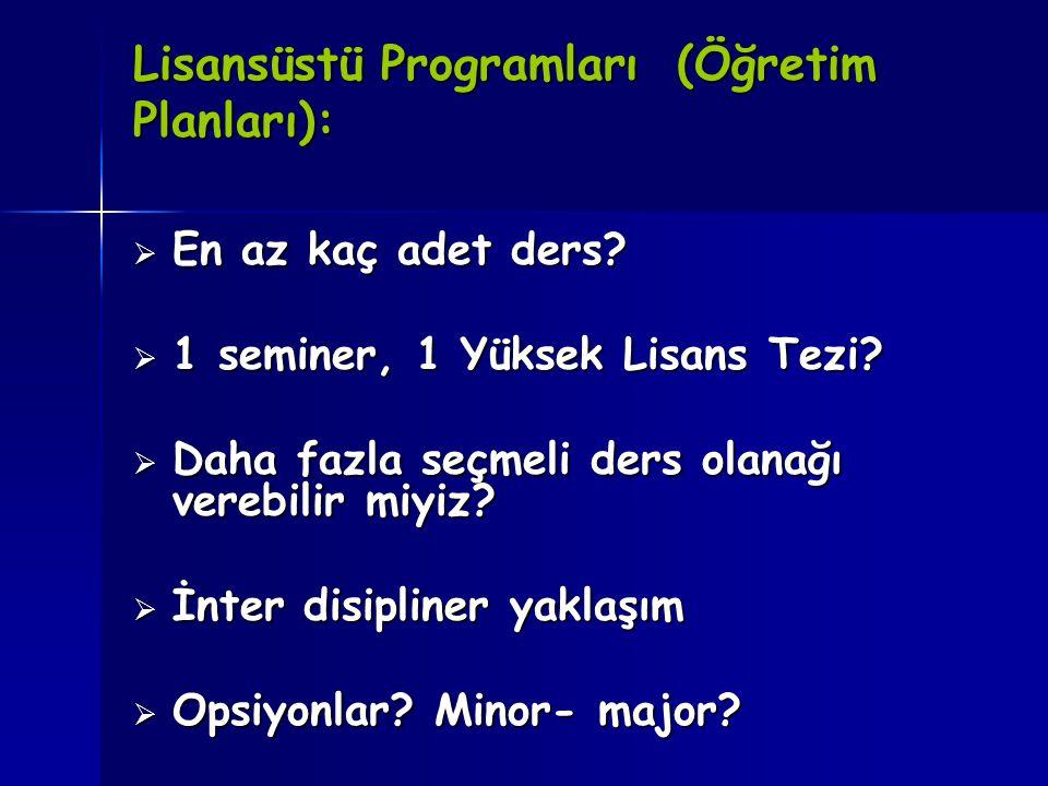 Lisansüstü Programları (Öğretim Planları):  En az kaç adet ders?  1 seminer, 1 Yüksek Lisans Tezi?  Daha fazla seçmeli ders olanağı verebilir miyiz