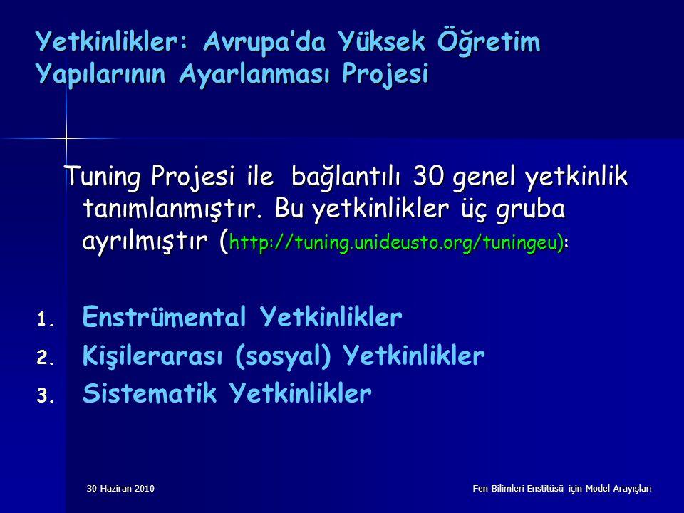 30 Haziran 2010 Fen Bilimleri Enstitüsü için Model Arayışları Yetkinlikler: Avrupa'da Yüksek Öğretim Yapılarının Ayarlanması Projesi Tuning Projesi ile bağlantılı 30 genel yetkinlik tanımlanmıştır.