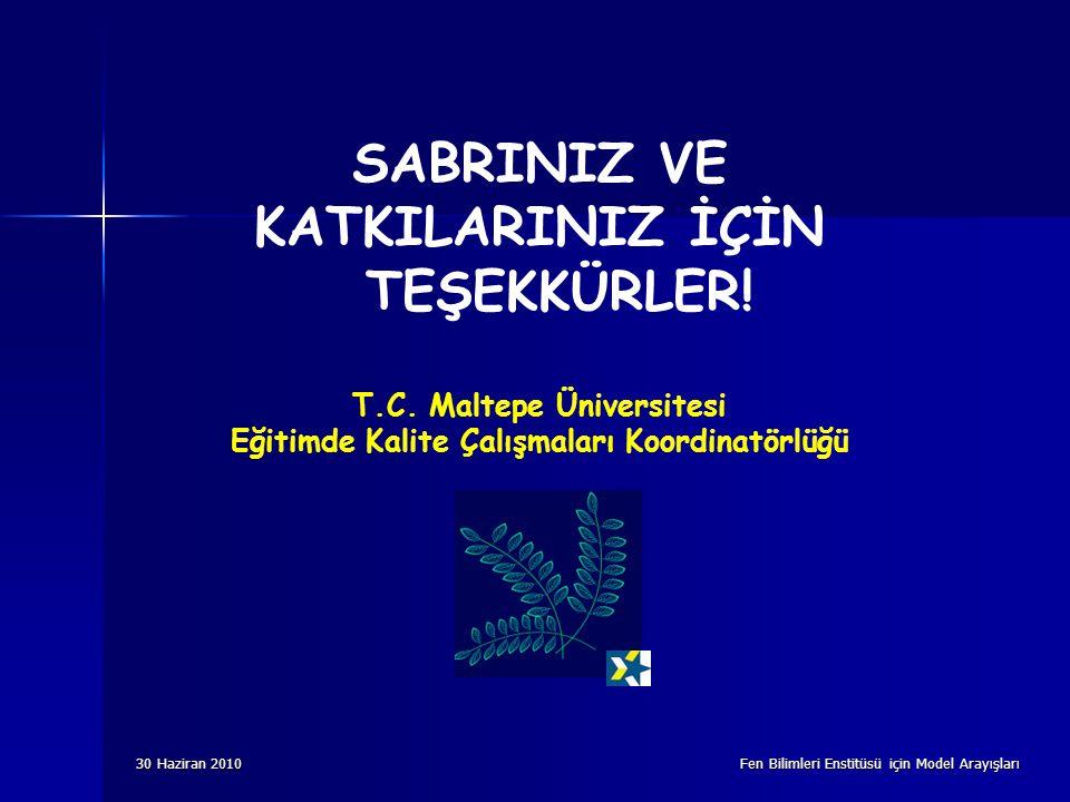 30 Haziran 2010 Fen Bilimleri Enstitüsü için Model Arayışları SABRINIZ VE KATKILARINIZ İÇİN TEŞEKKÜRLER! T.C. Maltepe Üniversitesi Eğitimde Kalite Çal