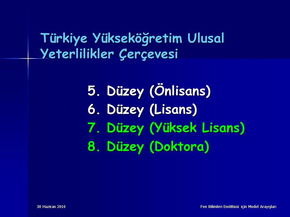 30 Haziran 2010 Fen Bilimleri Enstitüsü için Model Arayışları Türkiye Yükseköğretim Ulusal Yeterlilikler Çerçevesi 5. Düzey (Önlisans) 6. Düzey (Lisan