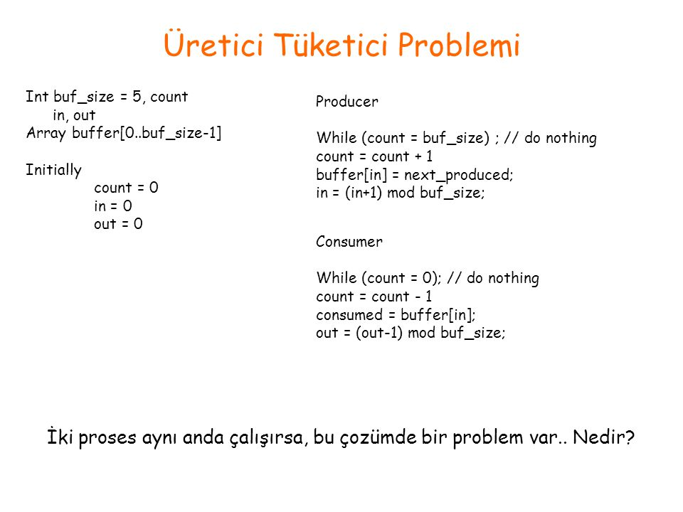 Üretici Tüketici Problemi Int buf_size = 5, count in, out Array buffer[0..buf_size-1] Initially count = 0 in = 0 out = 0 Producer While (count = buf_s