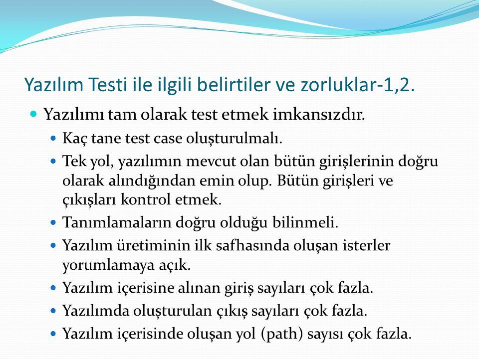 Yazılım Testi ile ilgili belirtiler ve zorluklar-1,2. Yazılımı tam olarak test etmek imkansızdır. Kaç tane test case oluşturulmalı. Tek yol, yazılımın
