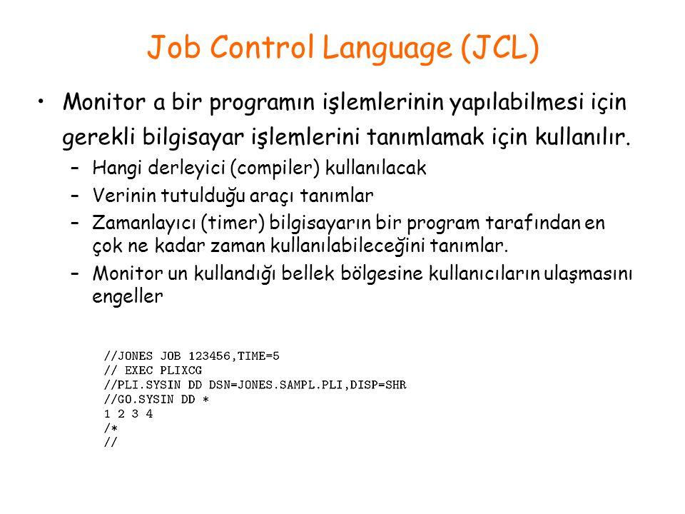 Job Control Language (JCL) Monitor a bir programın işlemlerinin yapılabilmesi için gerekli bilgisayar işlemlerini tanımlamak için kullanılır. –Hangi d