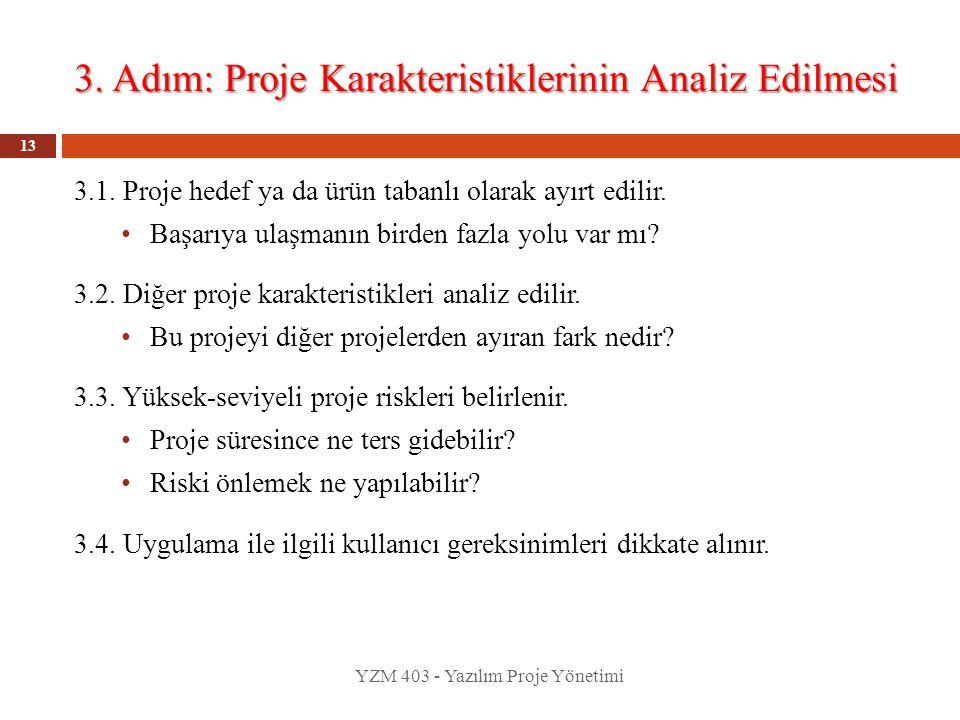 3. Adım: Proje Karakteristiklerinin Analiz Edilmesi YZM 403 - Yazılım Proje Yönetimi 13 3.1. Proje hedef ya da ürün tabanlı olarak ayırt edilir. Başar