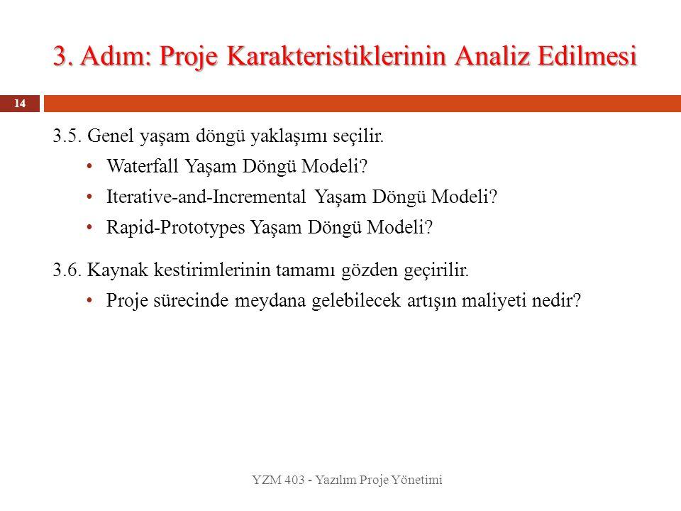 3. Adım: Proje Karakteristiklerinin Analiz Edilmesi YZM 403 - Yazılım Proje Yönetimi 14 3.5. Genel yaşam döngü yaklaşımı seçilir. Waterfall Yaşam Döng