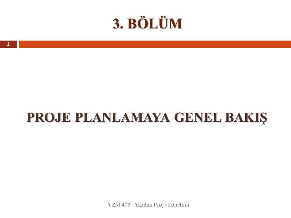 3. BÖLÜM PROJE PLANLAMAYA GENEL BAKIŞ YZM 403 - Yazılım Proje Yönetimi 2