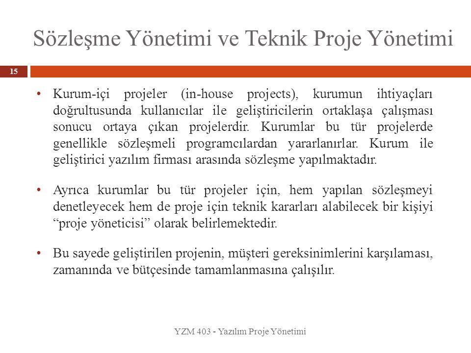 Sözleşme Yönetimi ve Teknik Proje Yönetimi YZM 403 - Yazılım Proje Yönetimi 15 Kurum-içi projeler (in-house projects), kurumun ihtiyaçları doğrultusun
