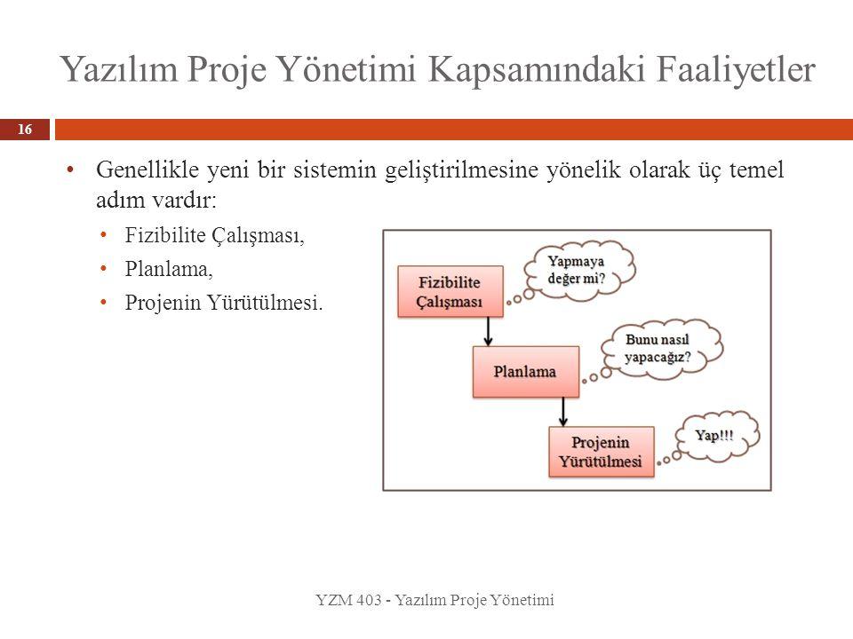 Yazılım Proje Yönetimi Kapsamındaki Faaliyetler YZM 403 - Yazılım Proje Yönetimi Genellikle yeni bir sistemin geliştirilmesine yönelik olarak üç temel
